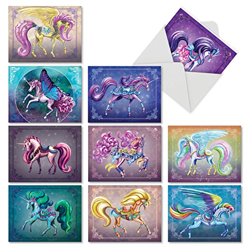 - Unique Unicorns - Box of 10 Blank Note Cards with Envelopes (4 x 5.12 Inch) - Mythical Fantasy Horses, All-Occasion Note Cards - Beautiful Notecard Bundle for Any Occasion AM6294OCB-B1x10