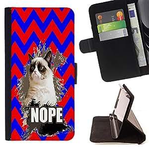 Pattern Queen - Chevron Grumpy Cat - FOR HTC One M9 - Funda de cuero ranuras para tarjetas de credito de la cubierta Flio tarjeta de la carpeta del tiron