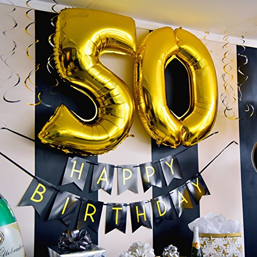 Well Wreapped 50th Birthday Party Pack Black Gold Happy Bunting Poms