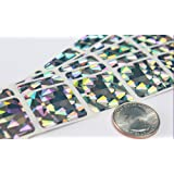 """1"""" Silver Hologram Square Scratch Off Stickers Label, Reflects multi colored in natural light, Perfect DIY, Pack of 100 My Scratch Offs"""