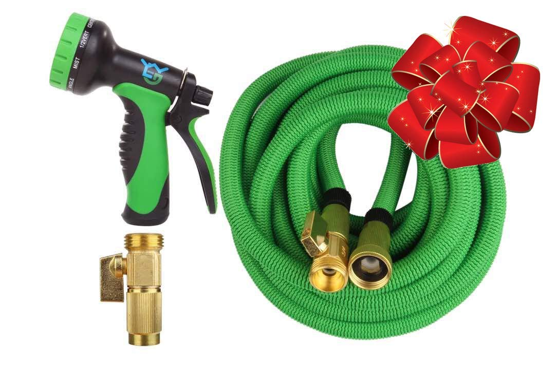 Expandable Garden Hose - 50 ft Best Flexible Expanding Water Hose- 10 Function Spray Nozzle Set -Solid Brass Fittings, Triple Latex Pipe, Strongest Green Webbing, LightweightKinkfree