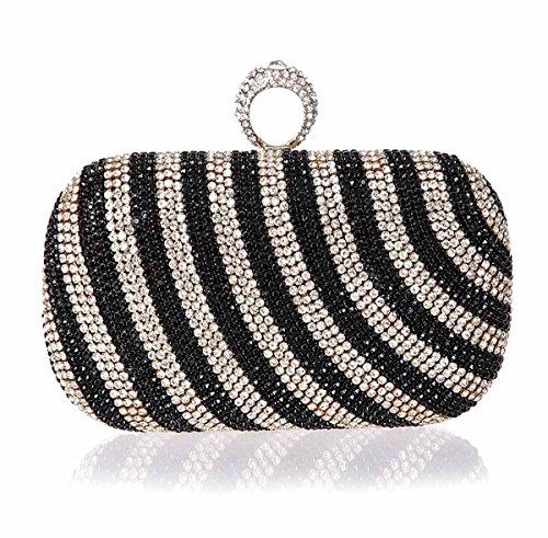 Mariage Diamant Sac Soiree de Main KAXIDY Argent à Cristal Chaîne Mode Soirée Luxe Noir Pochette de Femme Sac Bandoulière aw1Bq