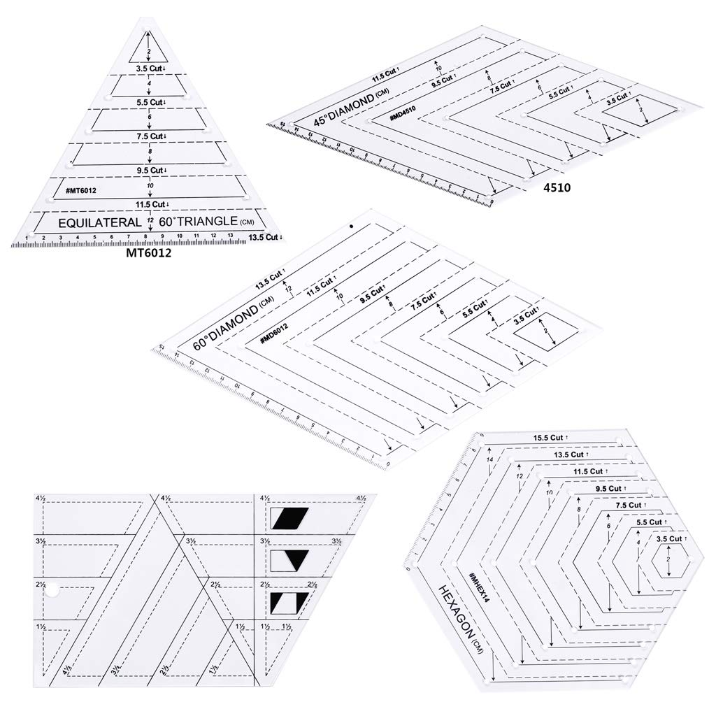 Yeahii 5pcs/Set Quilting Sewing Patchwork Craft Scale Ruler Triangle DIY Handmade Tailor Home Tools