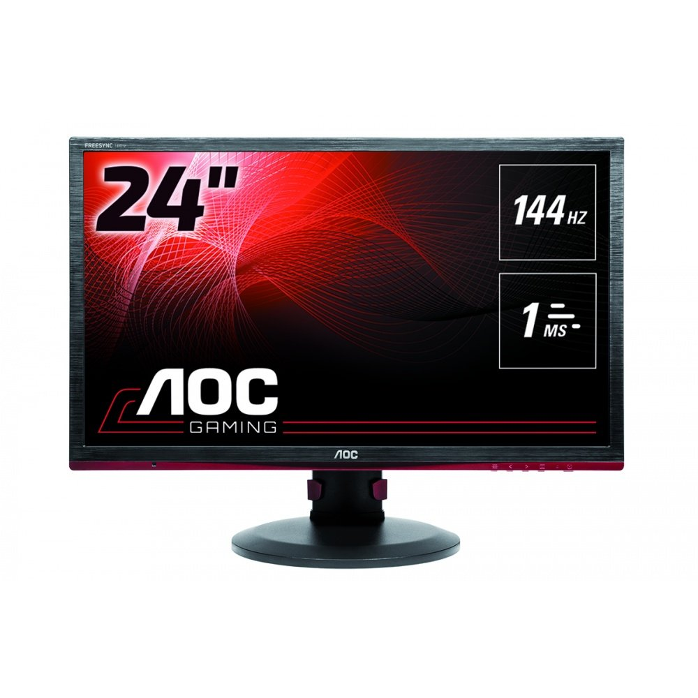 AOC G2590FX 25' Framless Gaming Monitor, FHD 1920x1080, 1ms, 144Hz, G-SYNC Compatible+AdaptiveSync, 96% sRGB, DisplayPort/HDMI/VGA, VESA, 25 inch, Black/Red