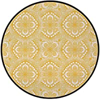 Printing Round Rug,Yellow Mandala,Oriental Doily Napkin Motifs Featured Asian Decorative Elements Curves Mat Non-Slip Soft Entrance Mat Door Floor Rug Area Rug For Chair Living Room,Yellow and White