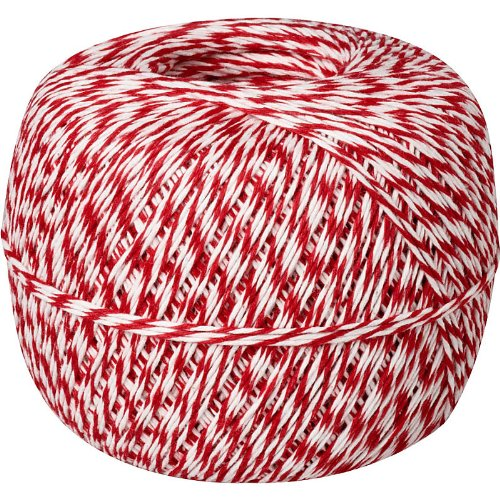 Made in USA 100% Cotton Red White Baker's Twine 1/2 Lb Spool (approx 1500 feet / 500 yards) by Well Groomed