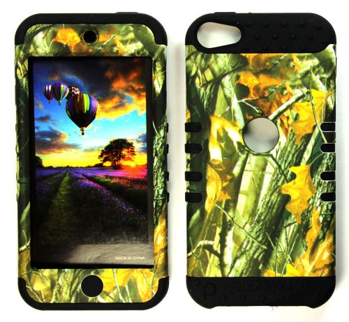 CellPhone Trendz Hybrid 2 in 1 Case Hard Cover Faceplate Skin Black Silicone and Camo Mossy Hunter Big Branch Oak Snap Protector for Apple iPod iTouch 5 (5th Generation)
