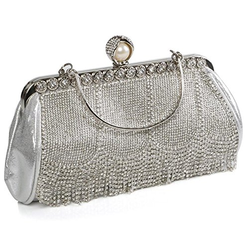 Diamante Ladies Silver Fringe Handle Shiny Evening Women's Clutch Rhinestones Bag Metallic Handbag Wedding Sparkling Crystals SBH6wq8R