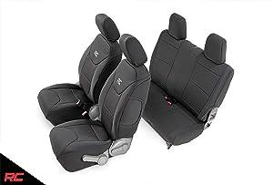Rough Country Neoprene Seat Covers Black 2 Door Compatible w/ 2007-2010 Jeep Wrangler JK (Set) 2DR Custom Water Resistant 91005