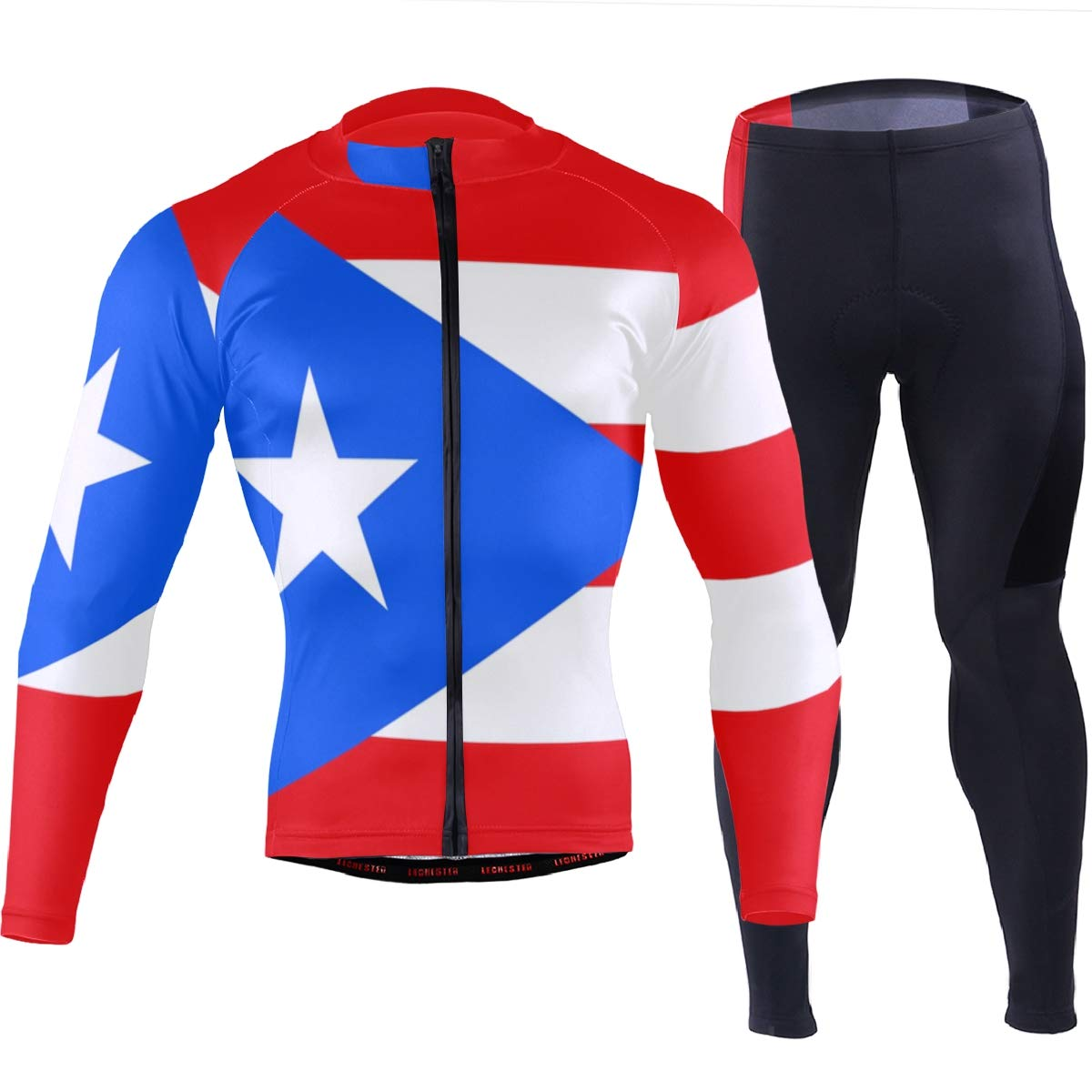CHINEIN Men's Cycling Jersey Long Sleeve with 3 Rear Pockets Suit Puerto Rico Flag