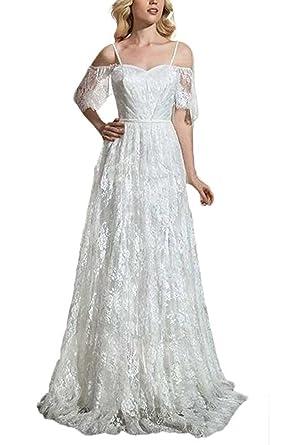 Ellenhouse Women\'s Boho Beach Wedding Dress Lace Bohemian Wedding ...
