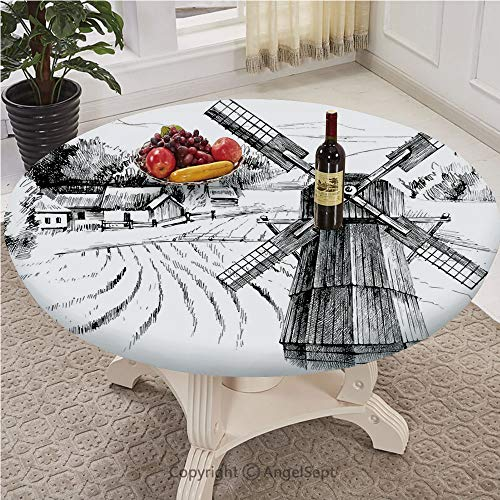 Printed Covers for The Home Deluxe Elastic Edged,Backed Polyester Fitted Table Cover -Pattern - Round,Landscape,Hand Drawn Rural Scenery Small Town Farm Houses Forest and Mill Romantic Sketch,Black Wh