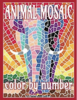 ANIMAL MOSAIC Color By Number Activity Puzzle Coloring Book For Adults Relaxation Stress Relief