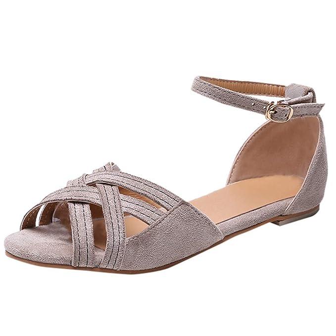 Sandalias de Verano para Mujer, Zapatos de Hebilla de Playa Transpirable de Punta Abierta para Mujer Roma Zapatos Planos Casuales Sandalias Zapatos De ...