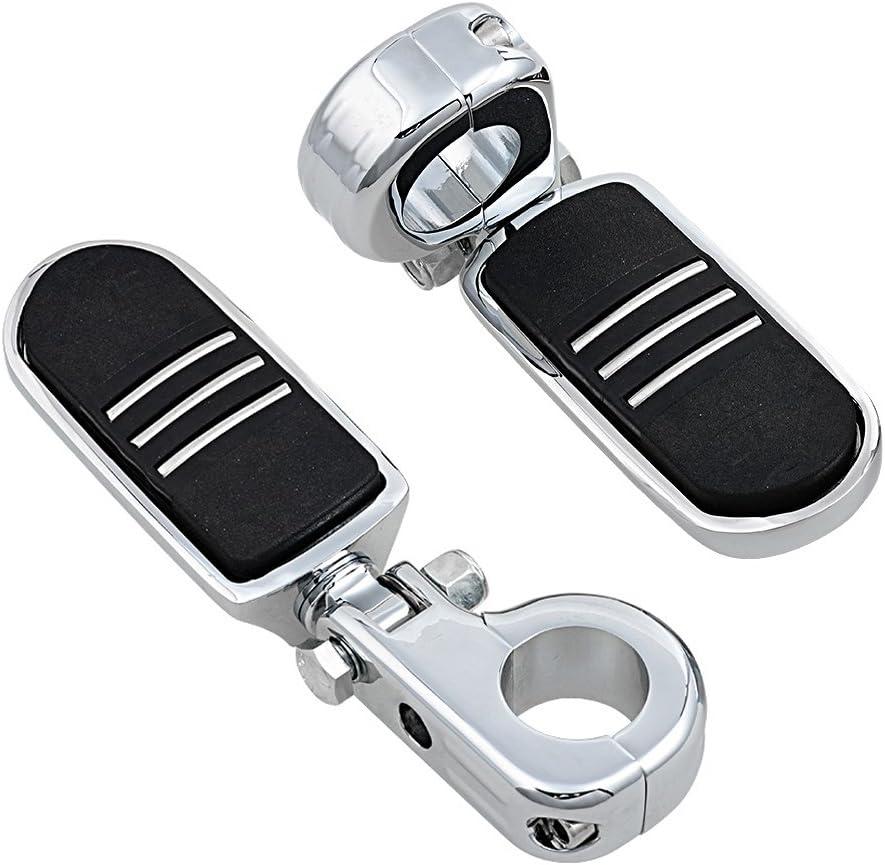 Set Footpeg Foot Rest Adjustable 1.25 Long Angled Highway Peg Mount Compatible with Harley 32mm Engine Guard