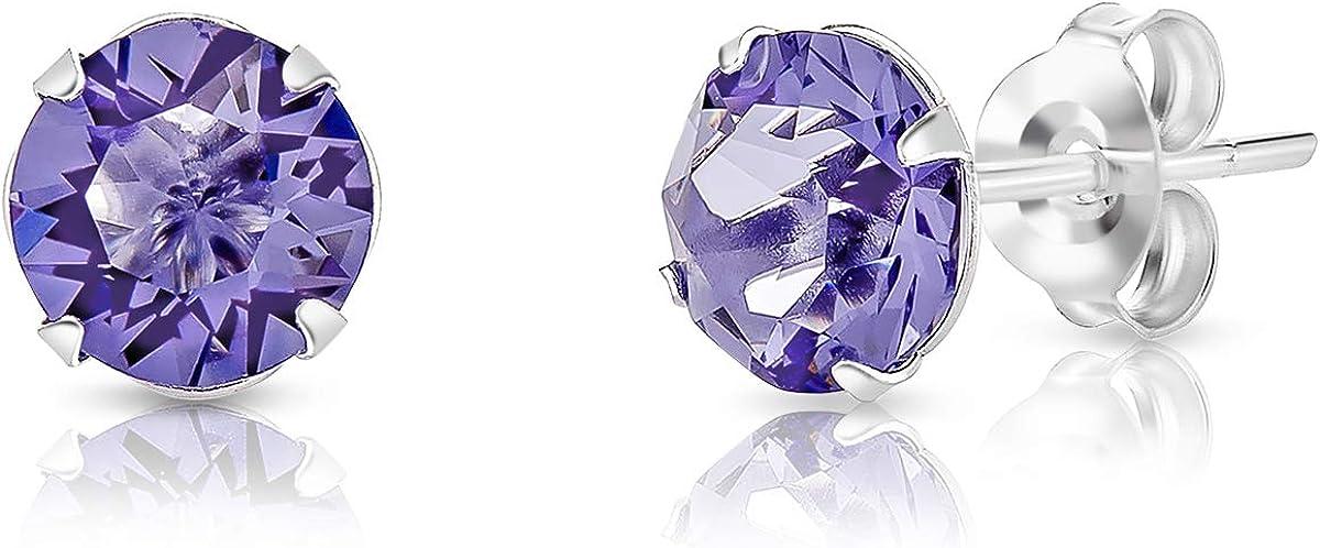 DTPsilver - Semental Pendientes/Aretes de Plata de Ley 925 con Cristal Swarovski® Elements Redondo - Diámetro: 6 mm - Disponible en Varios Colores