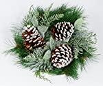 12 Inch Christmas Frosted Pine and Noble Fir Candle Ring For 4 Inch Pillar Candles