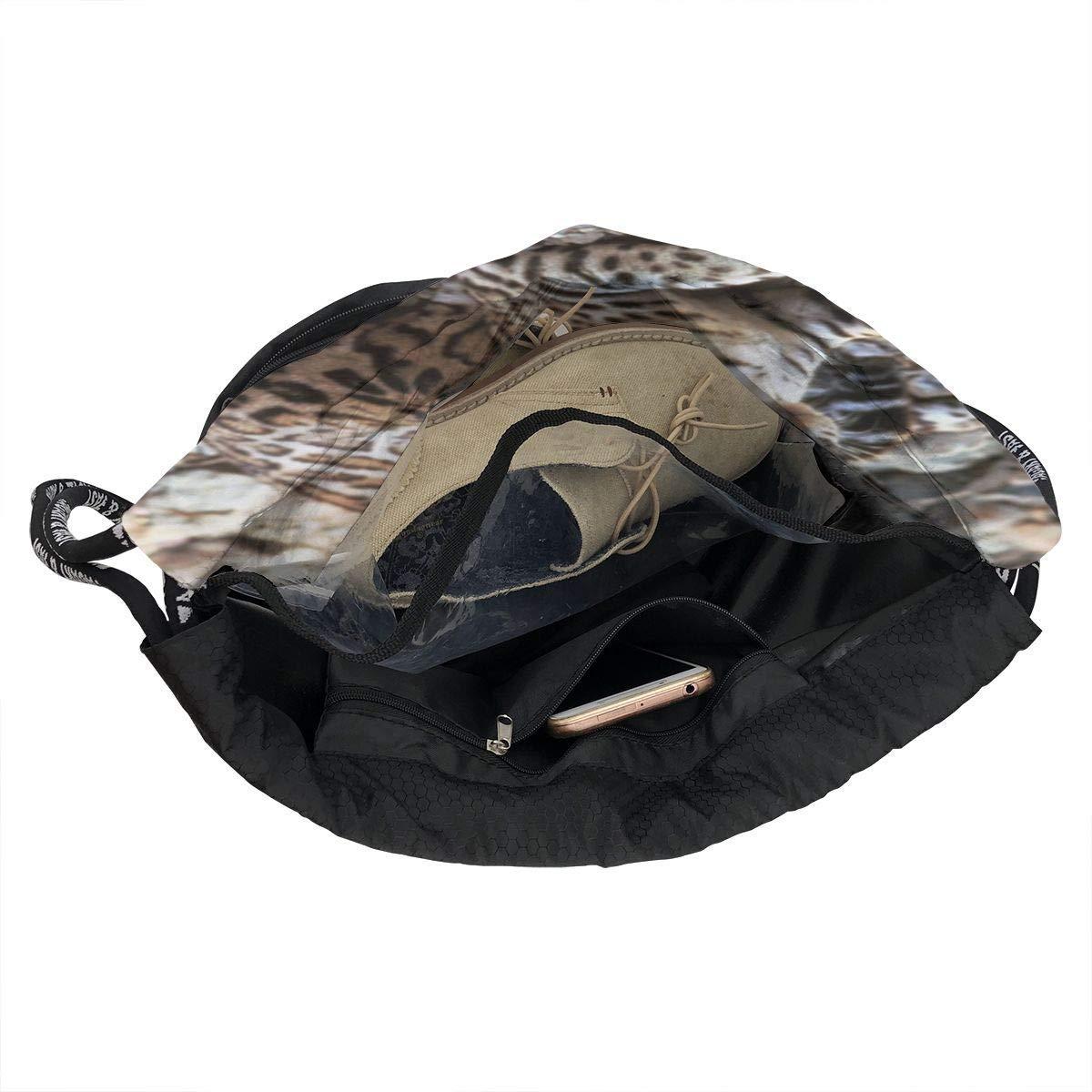 sunminey Sac de Cinch,Sacs de Sport /à Cordon Lightweight Waterproof Large Storage Drawstring Bag for Men Women Vintage Ocelot Cinch Backpack Sackpack Tote Sack