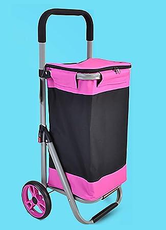 YGUOZ Plegable Carrito de Compras con Bolsa Extraíble, Gran Carro Compra con 4 Ruedas Sin Ruido, Carrito de Escalada Ligero (45L),Pink: Amazon.es: Hogar