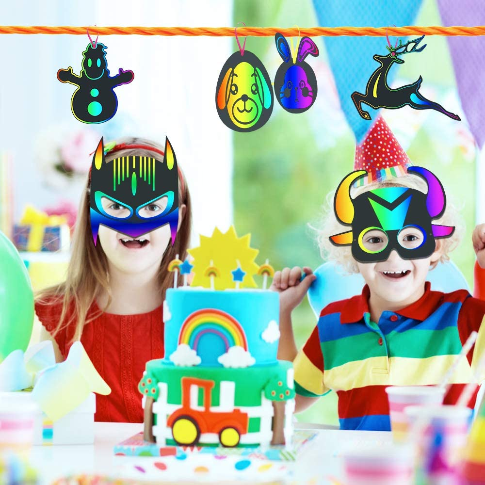 4 Series Valeny 122 Pcs Scratch Art Set for Kids Adults Sketch /& Engraving Handmade Crafts Kits Magic Rainbow DIY Arts and Crafts Supplies Kits for Toddler Party Preschool Activities