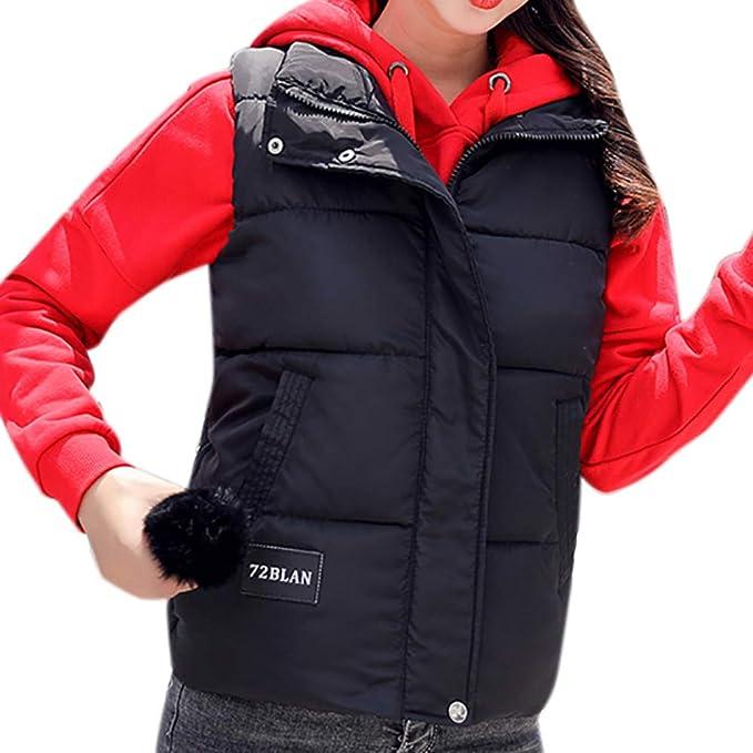 DOGZI Mujer Invierno Abrigos, Chaleco de Mujer Portátil de Plumón Cremallera Sin Mangas Ligero Abrigo de Invierno: Amazon.es: Ropa y accesorios