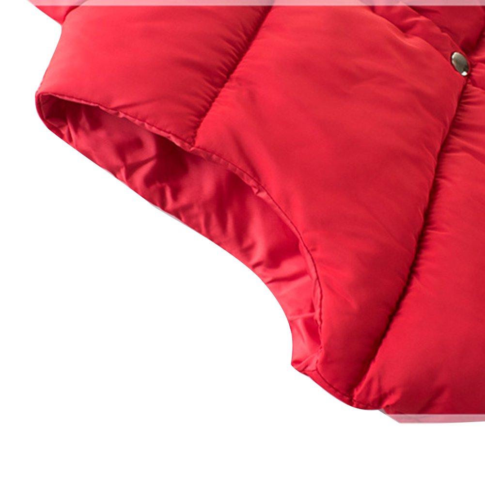 KISBINI Big Boys Stand Collar Warm Vests Autumn and Winter Coats Black 9T by KISBINI (Image #3)