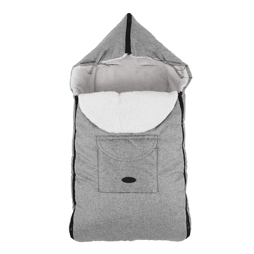 Universal Baby Footmuff Cosy Toes Liner Warm Foot Muff Cosytoes Toddler Buggy Padded with Hood for Pushchair Car Seat Pram Stroller 93 x 43 cm Grey