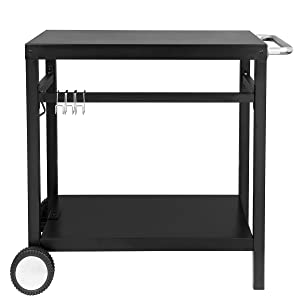 Royal Gourmet Double-Shelf Movable Dining Cart Table,Commercial Multifunctional Stainless Steel Flattop Worktable PC3401B