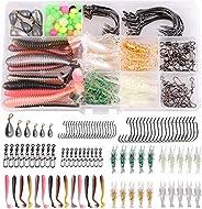 Bass Lure Fishing Tackle Kit, 151pcs Texas Rig Kit Including Soft Plastic Worm Baits Fishing Hooks Swivels Sin