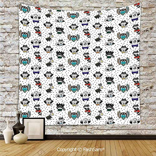 FashSam Polyester Tapestry Wall Animal Owl Dear Fox Cat Penguin Raccoon Bear in Superhero Costumes Print Hanging Printed Home Decor(W59xL90) -