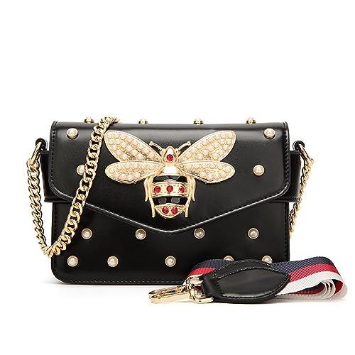 2a1c167430 Luxury Designer Handbag Casual Vintage Little Bee Woman Strap Cross Body  Bags (Black)