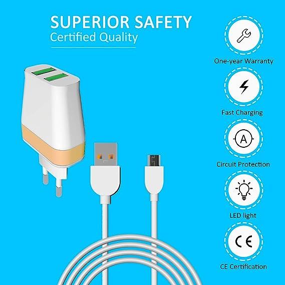 White+Gold Dual USB Koluman Home Charger KC-H300 Input//12-36V Output://5V 2.4A