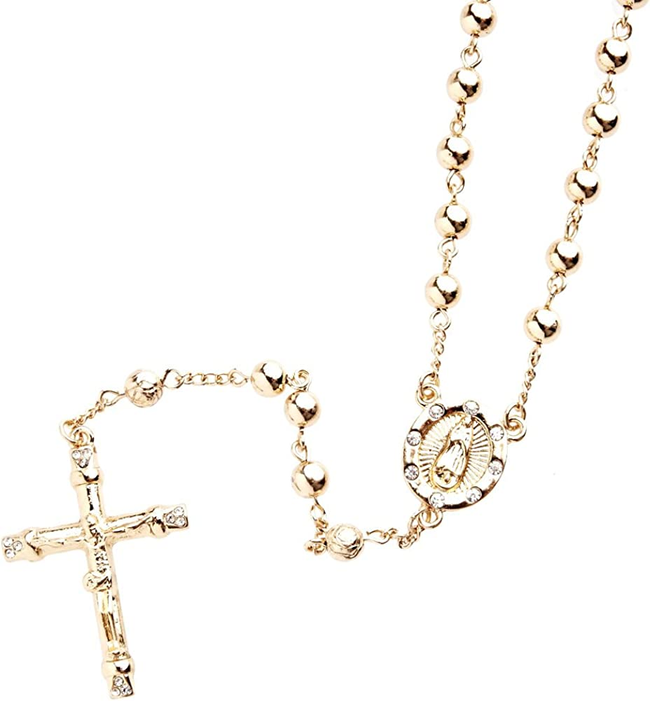 Iced Out Bling Fashion Necklace Rosary Gold
