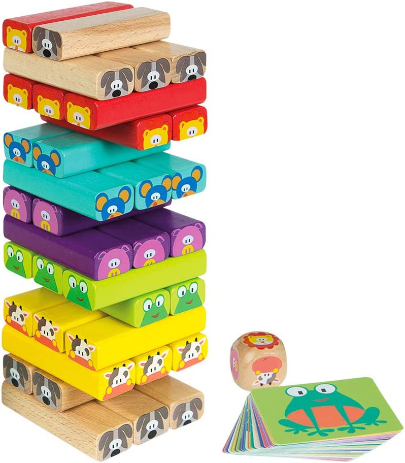WOOMAX - Construcciones para niños torre de madera 52 piezas (46251)