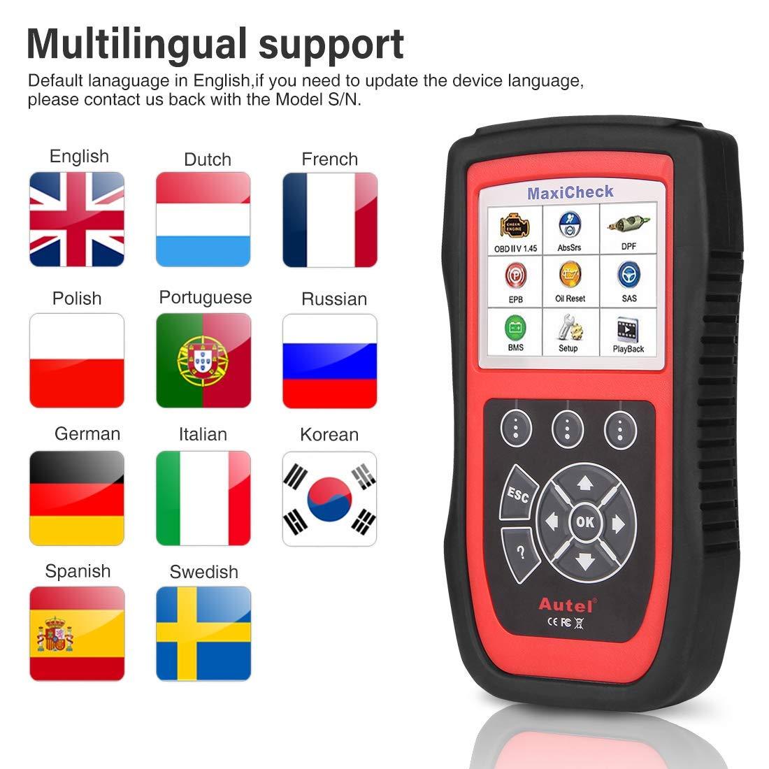 Autel MaxiCheck Pro Herramienta de diagnóstico para Frenos ABS Purga automática,ABS, SRS, BMS, DPF, Servicio de EPB, SAS,luz de Aceite/escáner de ...