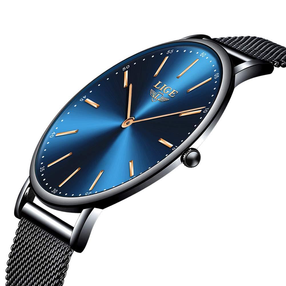 LIGE Relojes Hombre Militar Deportes Impermeable Analógico Cuarzo Relojes Hombre Ocio Cronógrafo Marron Cuero Fecha Reloj