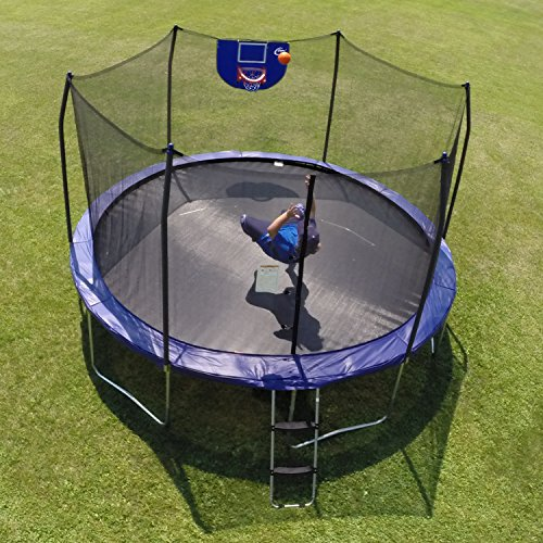 skywalker trampolines jump n 39 dunk trampoline with safety enclosure and basketball hoop blue. Black Bedroom Furniture Sets. Home Design Ideas
