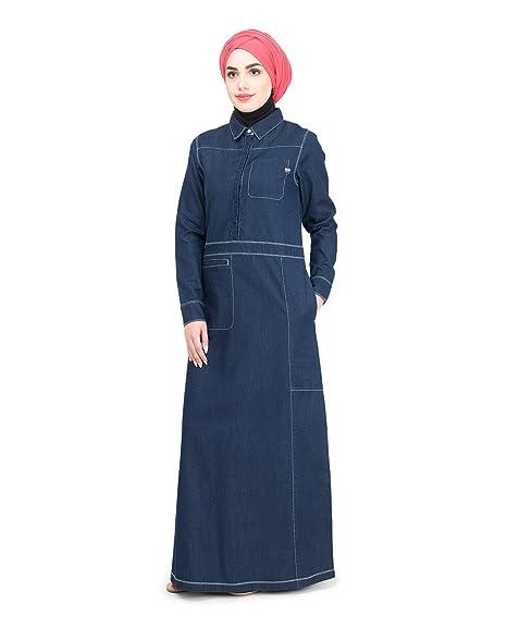 d16b2d04c0 Silk Route© Fine Denim Detail Urban Maxi Dress Jilbab  Amazon.in ...