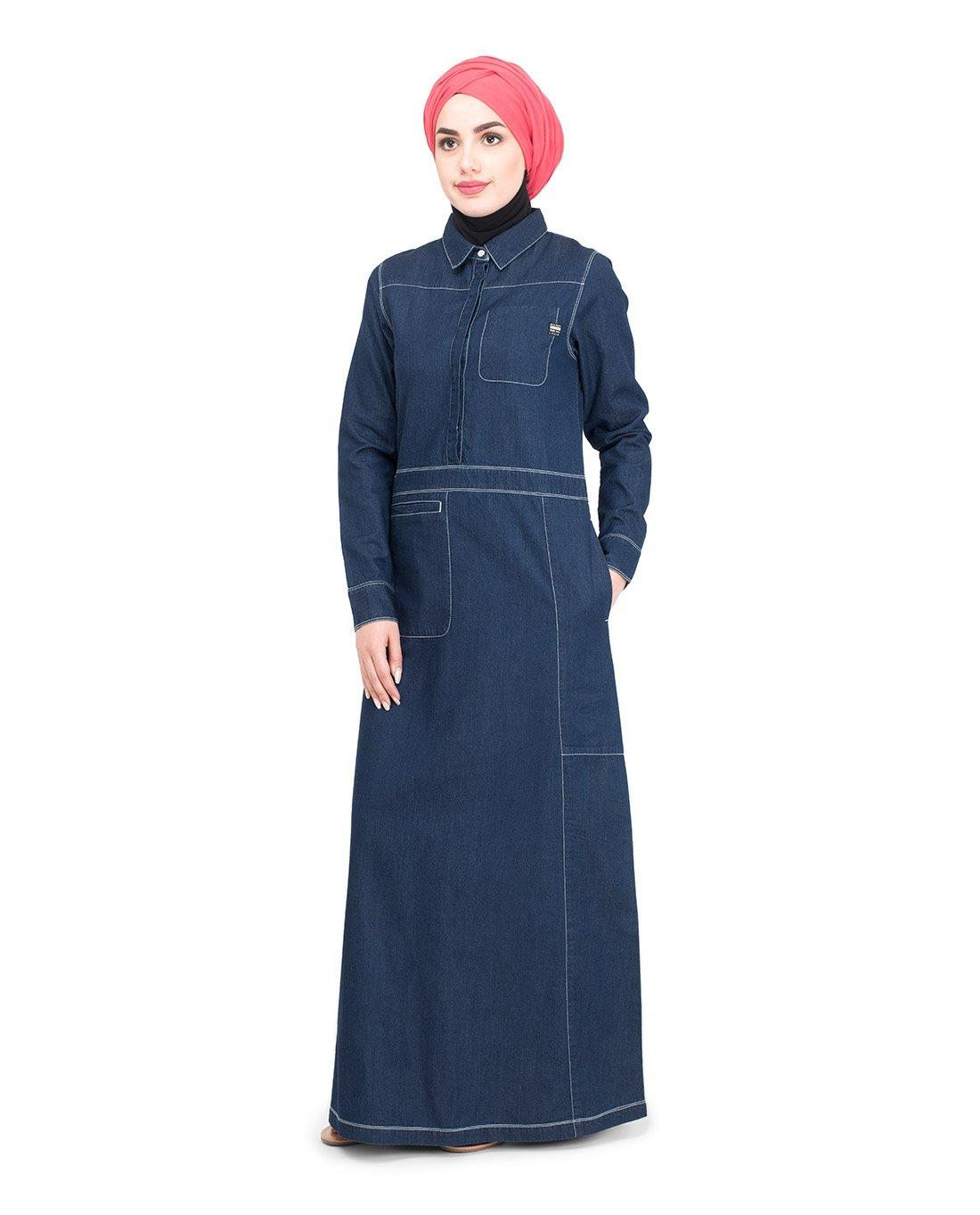 Silk Route Fine Denim Detail Urban Maxi Dress Jilbab Large 54