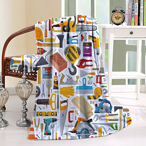 HAIXIA Throw Blanket Construction Construction Tools in Cartoon Style Engineering Fixing Repairing Building Multicolor (Joseph Wool Flannel)