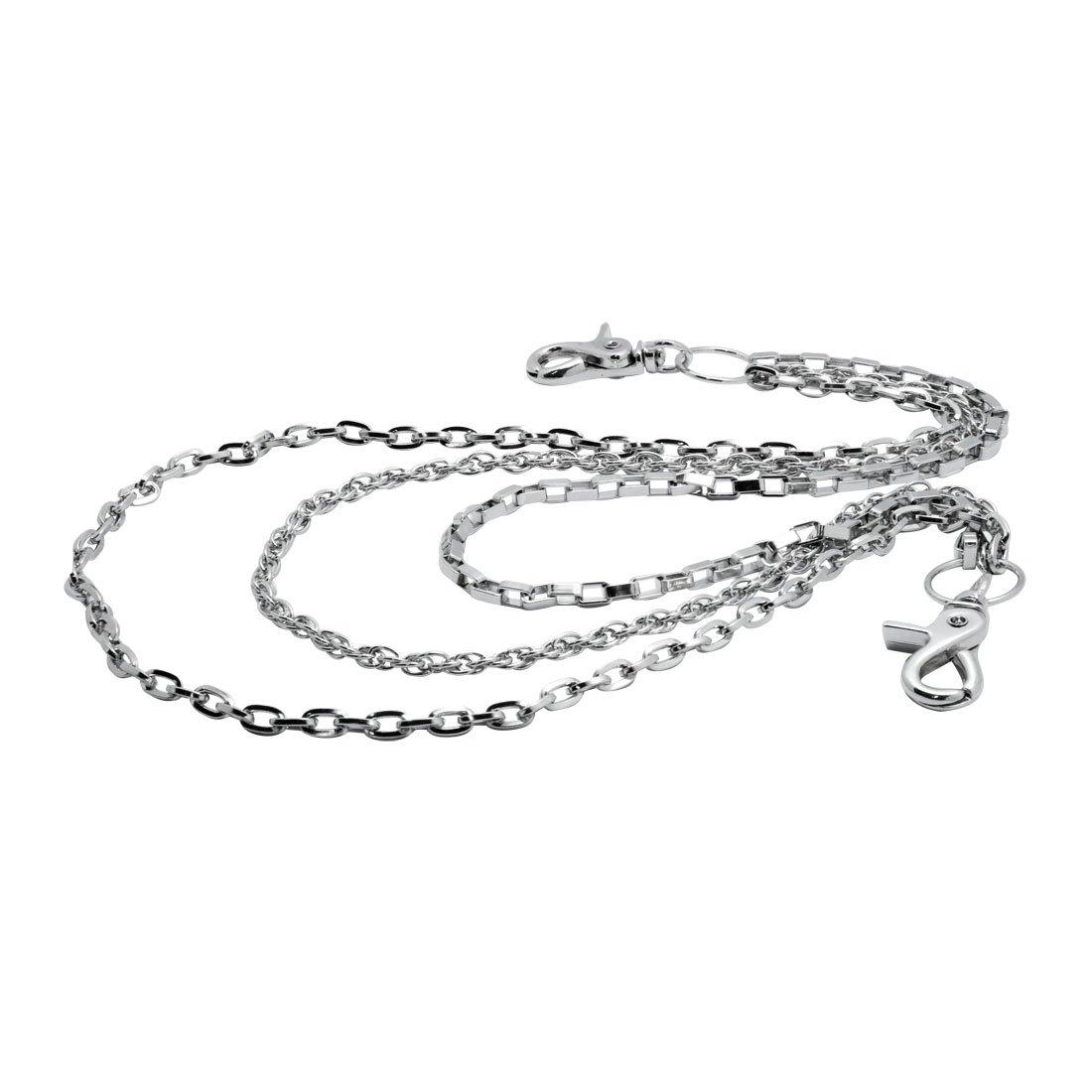 Uniqsum Simple Slim Triple wallet chain Swivel Trigger snap Lightweight Biker Punk Key chain (Silver)
