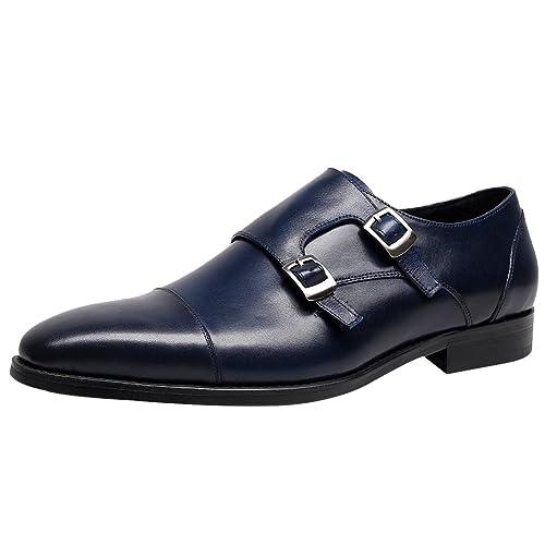 Jamron Hombres Piel Genuina Doble Correa de Monje Zapatos Formal Mocasines de Negocios Oxfords Zapatos de Vestir de Boda: Amazon.es: Zapatos y complementos