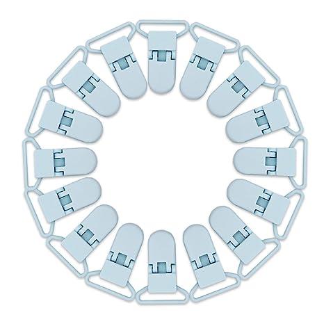 RUBY - 16 Pinzas Chupetes de plástico con cierre de seguridad especial para bebé. ENVÍOS DESDE ESPAÑA (Azul Pastel)