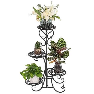 FnovaTall Plant Stand Indoor 4 Tier Wrought Iron Shelf Plant Rack Outdoor Garden Flower Pots Display Holder, Black : Garden & Outdoor