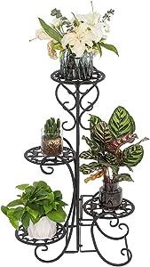 Pocooyo Metal Plant Stand Flower Holder, 4 Potted Rounded Flower Metal Shelves Plant Pot Stand, Planter Rack Organizer Decoration for Indoor Outdoor Garden (Black-Round)