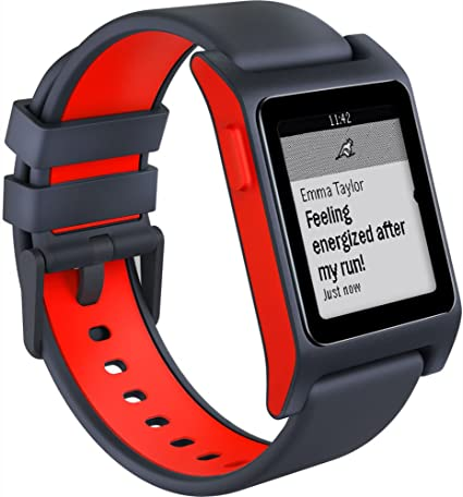 Pebble 2 + Heart Rate Smart Watch- Black/Flame