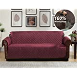 Home Queen Premium Couch Slipcover, Non-Slip Waterproof Sofa Protector with Pocket and Elastic Straps, Furniture Covers for Dogs, Kids, Pets, Sofa Covers 76'' L x 108'' W, Burgundy