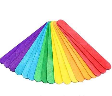 Hosaire 50 Piezas multicolores palitos de helado de madera Lollipop Popsicle Stick para hielo o torta