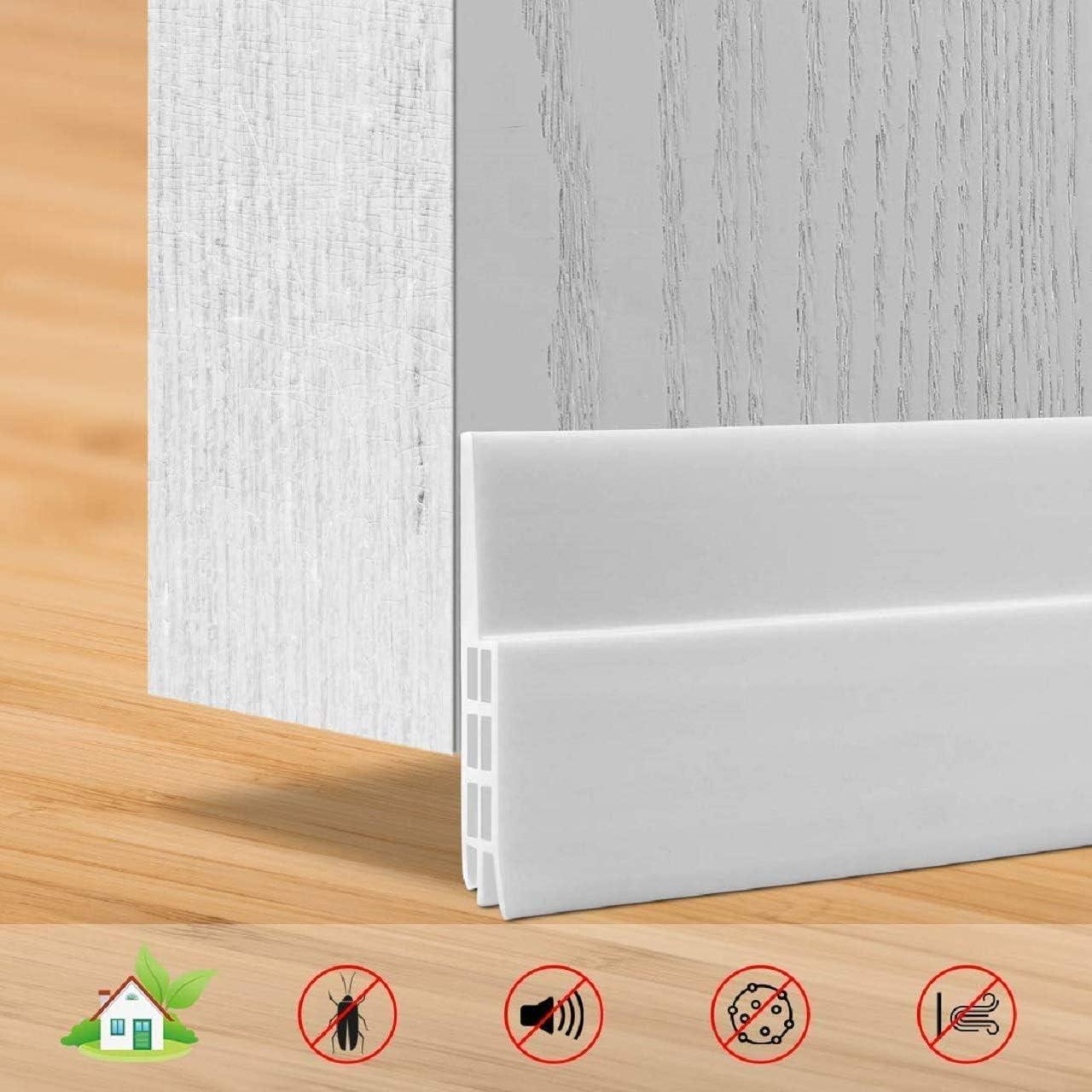 Burlete puerta, SXYHKJ 100 x 5cm burlete bajo puerta burlete autoadhesivo de goma de Silicona, Anti-polvo/anti-ruido/anti-bug de sellado a prueba (blanco)