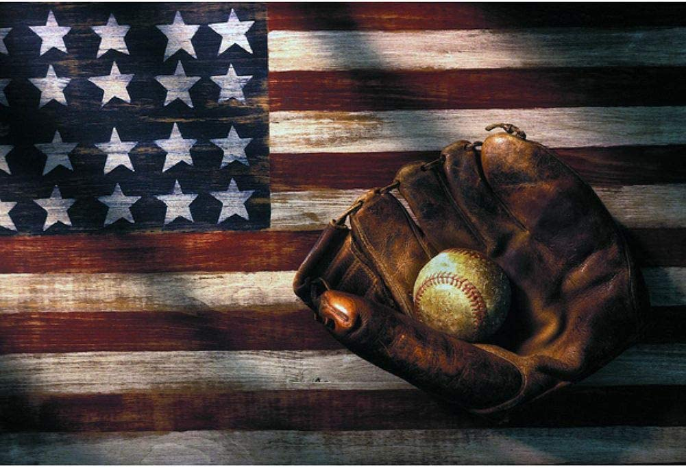 DIY 5D Diamond Painting Kits for Adults Full Drill Diamond Painting for Home Wall Decor Gift Baseball American Flag 17.7x11.8in 1 Pack